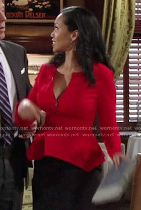 Hilary's red zip-front peplum top on The Young and the Restless