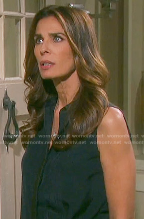 Hope's navy sleeveless leather trim top on Days of our Lives