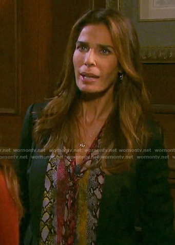 Hope's rainbow snake print blouse on Days of our Lives
