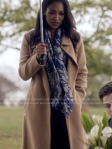 Iris's long camel coat on The Flash