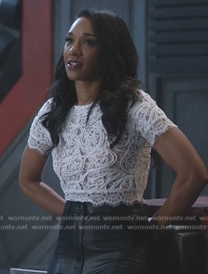 Iris's white lace crop top on The Flash