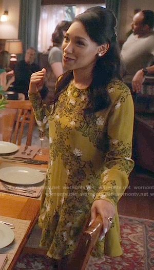 Iris's yellow floral long sleeved dress on The Flash
