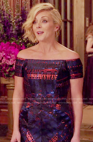 Jacqueline's blue and red off-shoulder gown on Unbreakable Kimmy Schmidt