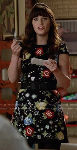 Jess's black floral embroidered dress on New Girl