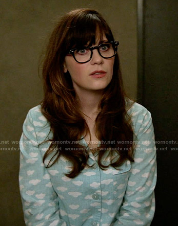 Jess's blue cloud print pajamas on New Girl