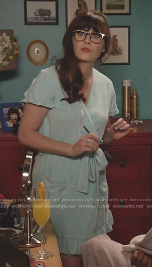 Jess's blue ruffled trim robe on New Girl