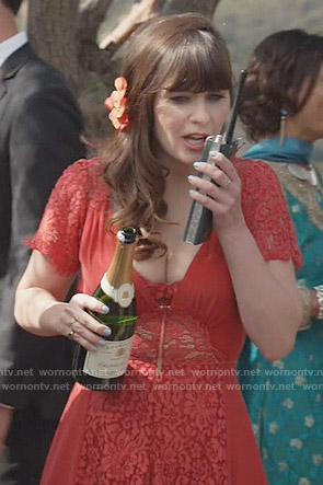 Jess's red lace bridesmaid dress on New Girl