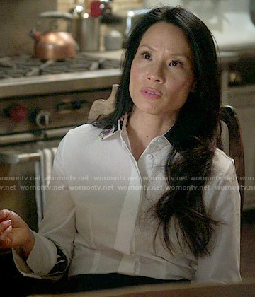 Joan's white shirt with printed collar on Elementary