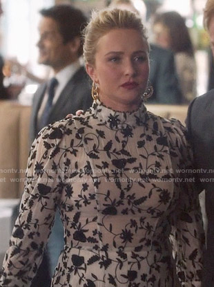 Juliette's black and white beaded floral dress on Nashville