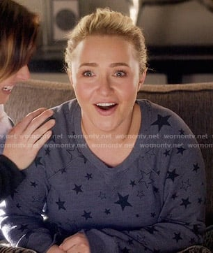 Juliette's blue star print sweatshirt on Nashville