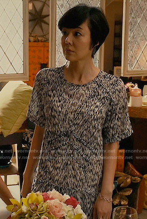 Karen's black and white printed shift dress on Mistresses