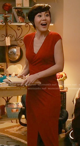Karen's red cross-front dress on Mistresses
