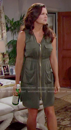 Katie's army green zip front dress on The Bold and the Beautiful