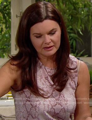 Katie's pink snake print top on The Bold and the Beautiful