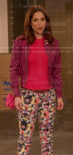 Kimmy's purple jacket and floral jeans on Unbreakable Kimmy Schmidt