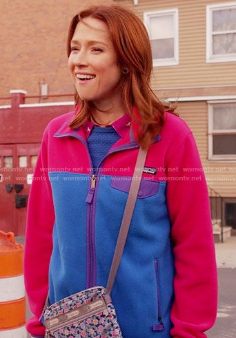 Kimmy's pink and blue fleece jacket on Unbreakable Kimmy Schmidt