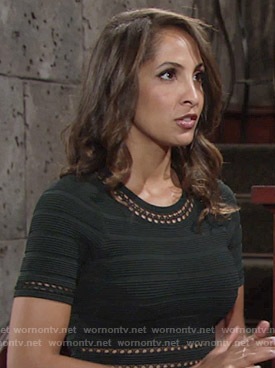 Lily's black ribbed dress on The Young and the Restless