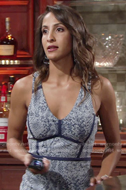Lily's blue snake print v-neck dress on The Young and the Restless