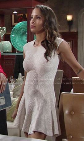 Lily's off white flared dress on The Young and the Restless