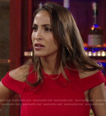 Lily's red cold shoulder dress on The Young and the Restless
