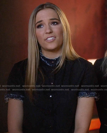 Maddie's black shirt with denim trim on Nashville