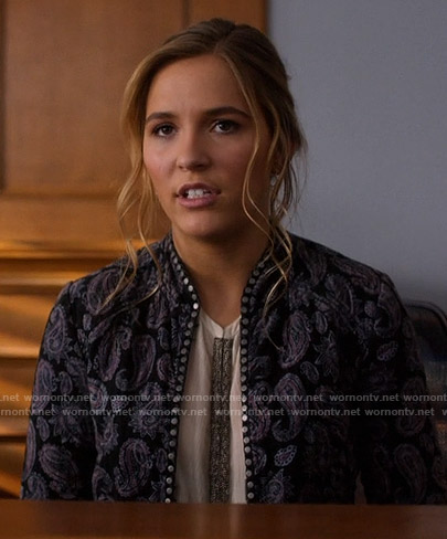 Maddie's studded paisley jacket on Nashville