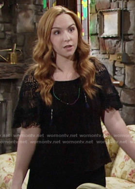 Mariah's black fringed sleeve top on The Young and the Restless