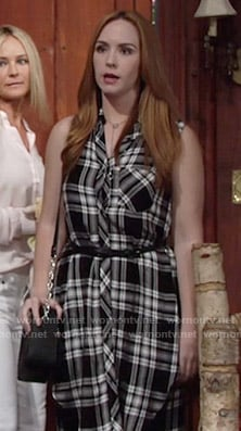 Mariah's black plaid sleeveless shirtdress on The Young and the Restless
