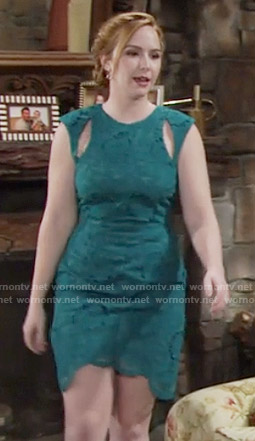 Mariah's green lace dress with cutouts on The Young and the Restless