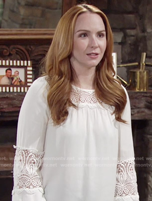 Mariah's white crochet inset top on The Young and the Restless