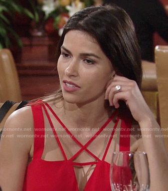 Marisa's red strappy front top on The Young and the Restless