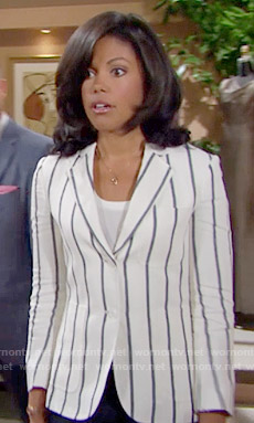 Maya's white striped blazer on The Bold and the Beautiful