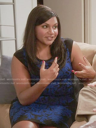 Mindy's black and blue damask print dress on The Mindy Project