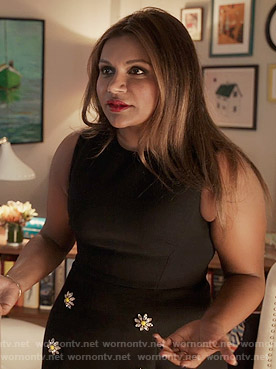Mindy's navy dress with flower buttons on The Mindy Project