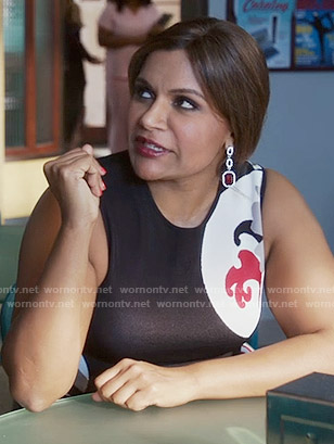 Mindy's black and red graphic print dress on The Mindy Project
