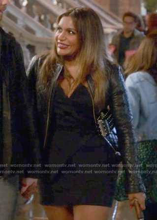 Mindy's black strapless dress and leather jacket on The Mindy Project