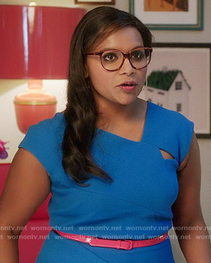 Mindy's blue dress with cutout on The Mindy Project