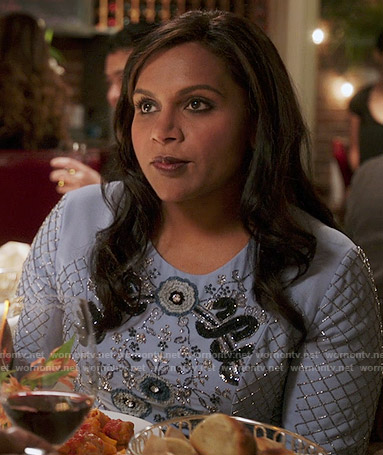 Mindy's blue embellished long sleeve dress on The Mindy Project