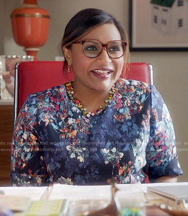 Mindy's blue floral dress on The Mindy Project