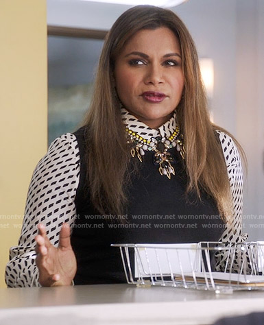 Mindy's broken stripe print shirt on The Mindy Project
