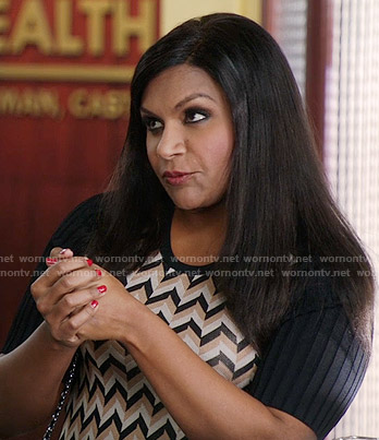 Mindy's chevron dress with black sleeves on The Mindy Project