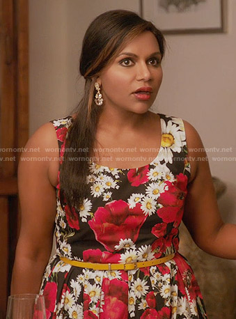 Mindy's daisy print dress on The Mindy Project