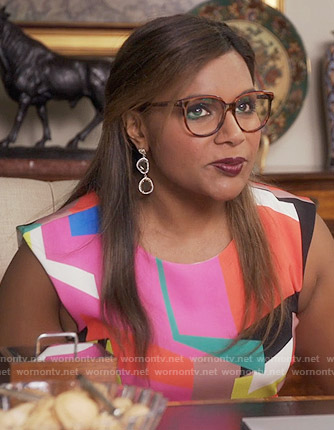 Mindy's multi colored geometric shapes print dress on The Mindy Project