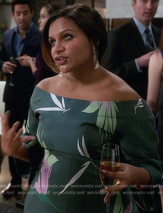 Mindy's green floral off-shoulder dress on The Mindy Project