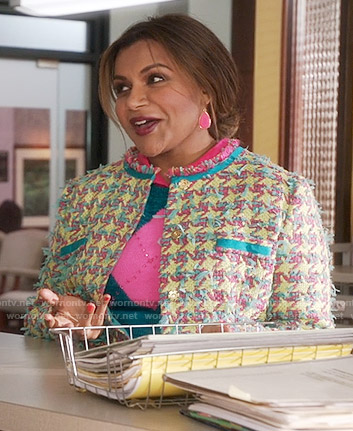 Mindy's houndstooth tweed jacket on The Mindy Project