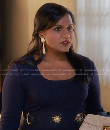 Mindy's navy zodiac embellished dress on The Mindy Project