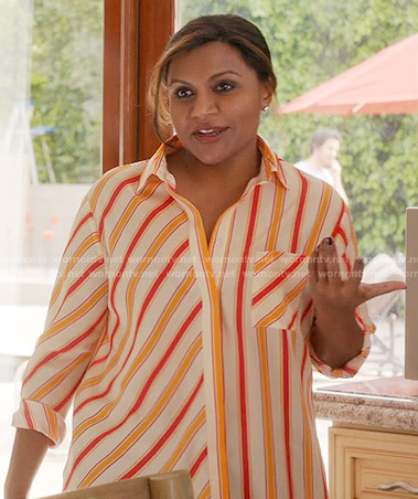 Mindy's orange and red striped shirt on The Mindy Project