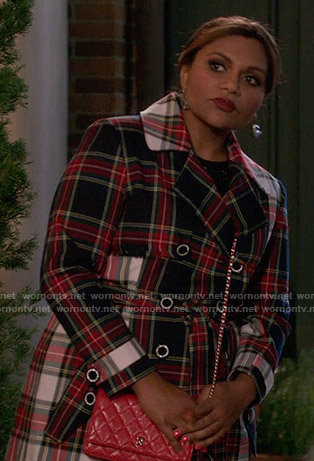 Mindy's plaid trench coat on The Mindy Project
