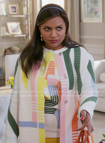 Mindy's multi colored stripe print sweater and coat on The Mindy Project