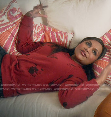 Mindy's red instrument print sweatshirt on The Mindy Project